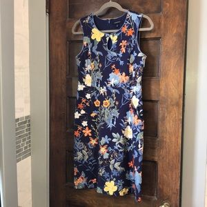 🔵Lands End sleeveless floral Schiff dress size 6